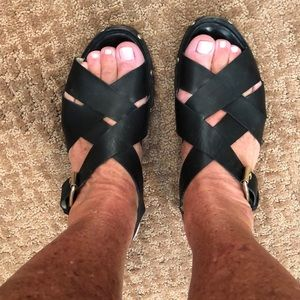AGL black leather sandal sz8